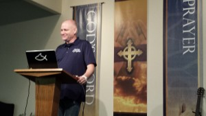 "Sye delivering one of what he calls his ""talks"" on Biblical Presuppositional Apologetics."