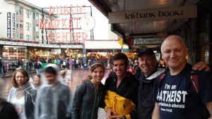 Conference attenders with Sye proclaiming the Gospel at Seattle's famous Pike Place Market.